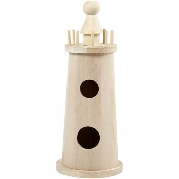 Lighthouse, H: 25 cm, D: 10 cm, empress wood, 1pc