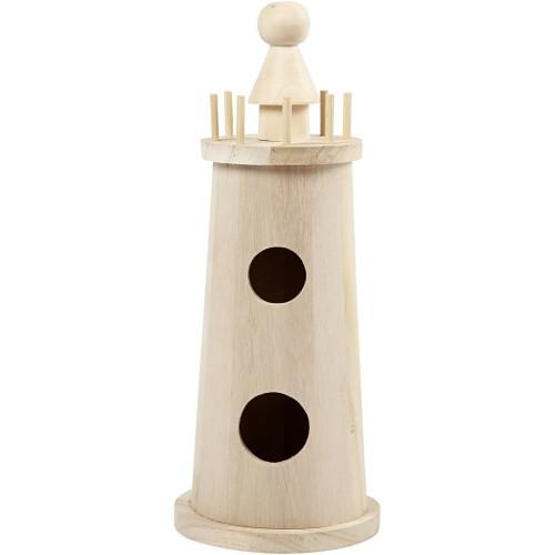 Lighthouse, H: 25 cm, D: 10 cm, empress wood, 1pc