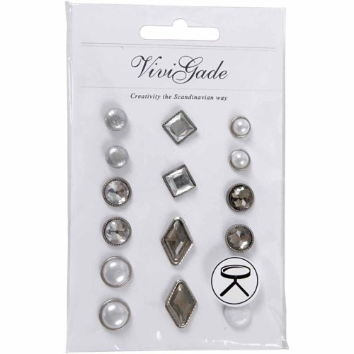 Deco Rivets, size 8-18 mm, white, 16ass.