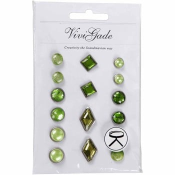 Deco Rivets, size 8-18 mm, green, 16ass