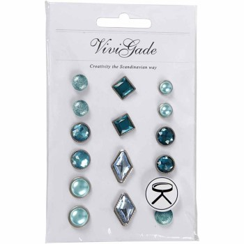 Deco Rivets, size 8-18 mm, blue, 16ass.