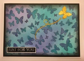 butterfly stencil blue
