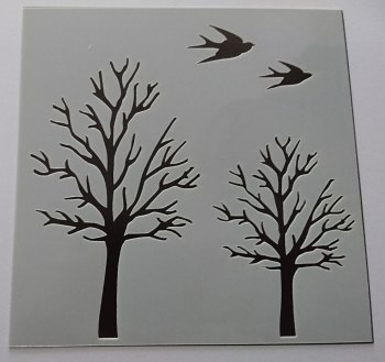 "Birds and Trees 6x6"" Stencil / Mask"