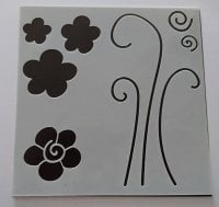"""Doodled Flowers 6x6"""" Stencil / Mask"""