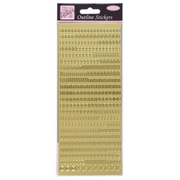 Outline Stickers - Small Letters - Gold