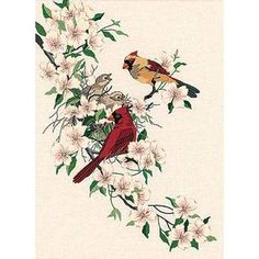 Dimensions Crewel embroidery - Cardinals in Dogwood