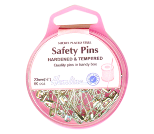 Hemline nickle plated steel safety pins - 23mm