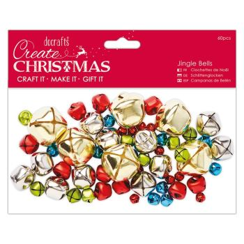 Jingle Bells - Assorted Colours and Sizes (60pcs)