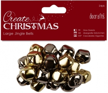 Docrafts Large Jingle Bells, Gold/Silver, 20pcs