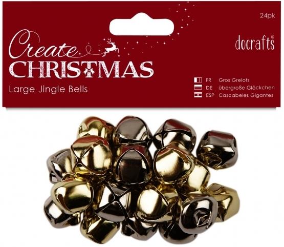 Docrafts Large Jingle Bells, Gold/Silver, 20pcs