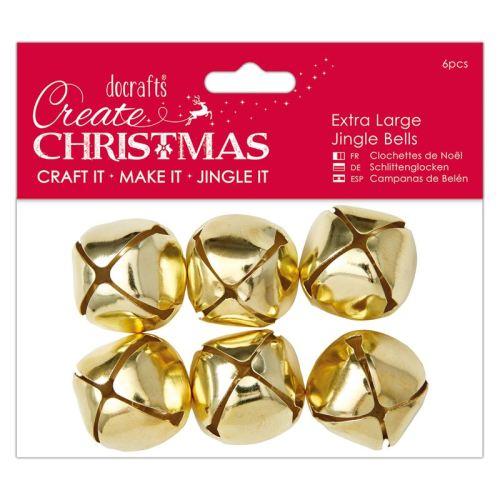 Docrafts Extra Large Jingle Bells (6 pcs) Gold