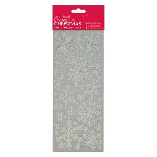 Docarfts outline stickers - Snowflakes - Silver