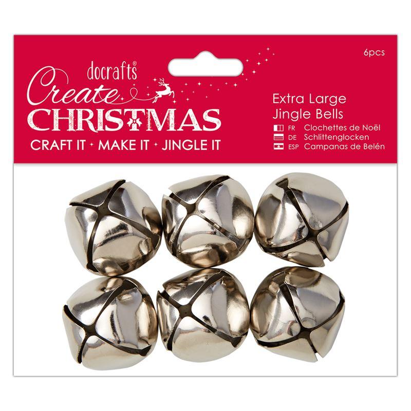Docrafts Extra Large Jingle Bells (6 pcs) silver
