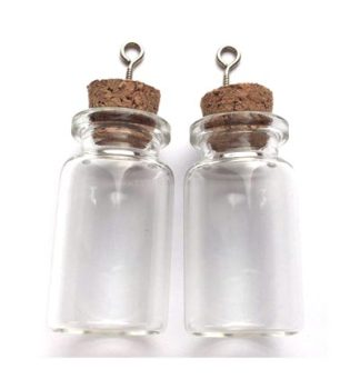 Mini Glass Bottles, with Cork & Screw Hanger - 2 pcs - 22 x 40mm