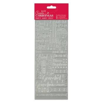 Docrafts outline stickers - Contemporary Xmas Relations Silver