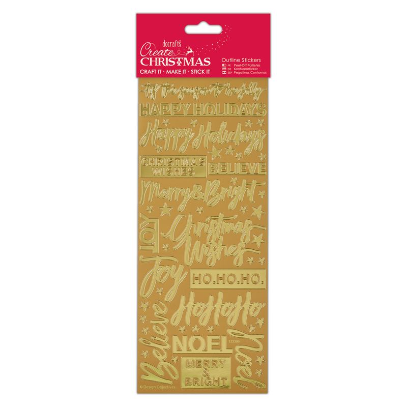 Docrafts outline stickers - Contemporary Xmas Sentiments Gold
