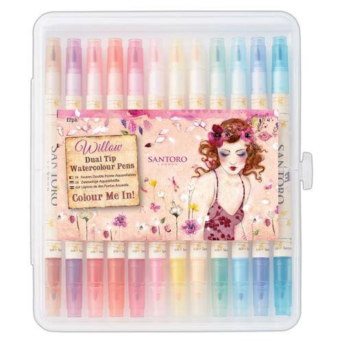 Colour Me In Watercolour Dual-Tip Pens (12pk) - Santoro