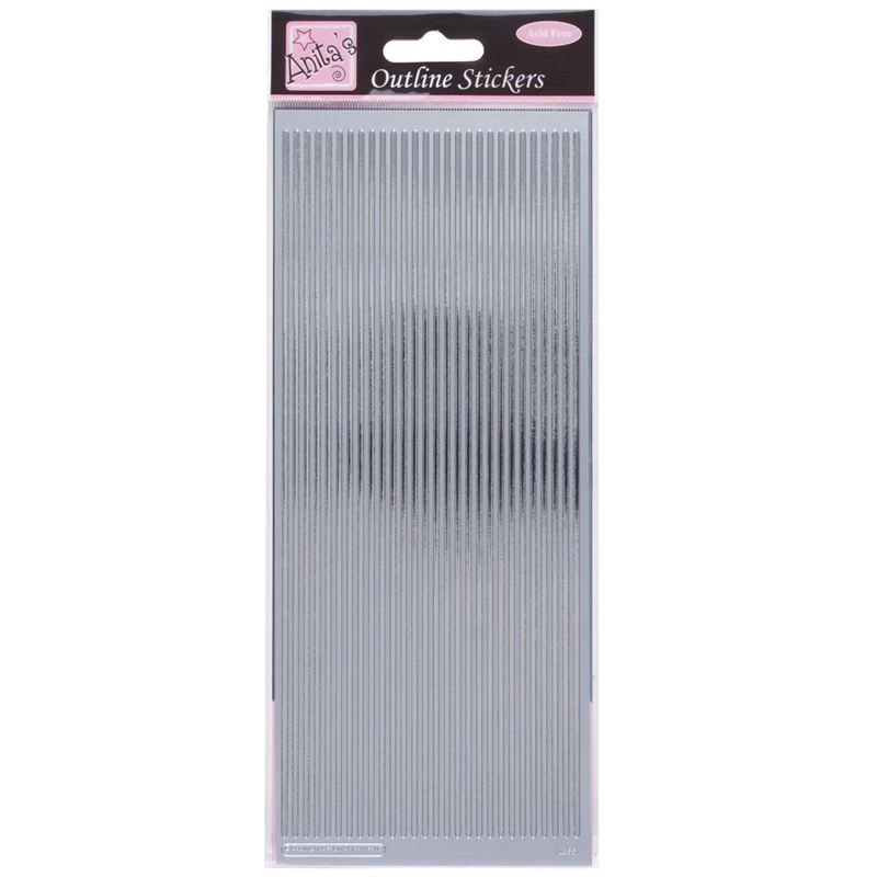 Outline Stickers - Straight Line Borders - Silver