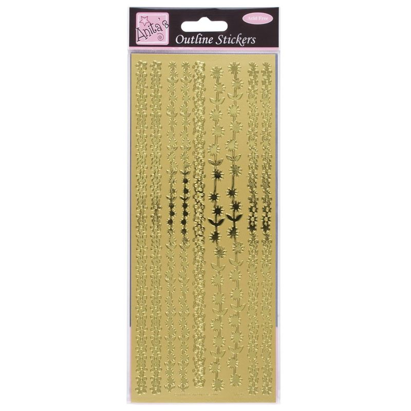 Outline Stickers - Floral Borders - Gold