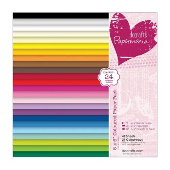 docrafts 6 x 6'' Coloured Paper Pack (48pk)