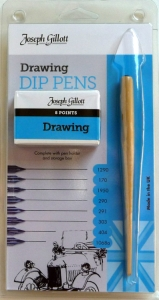 William Mitchell Calligraphy : Joseph Gillott Drawing Set : 8 Nibs and Pen