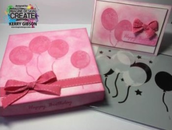 pink gift box with balloon stencil