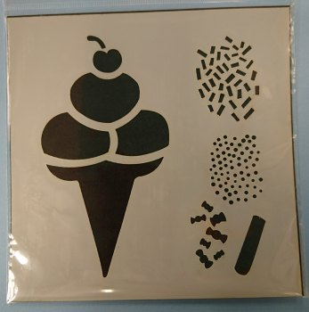 "Ice Cream & Sprinkles 6x6"" Stencil / Mask"