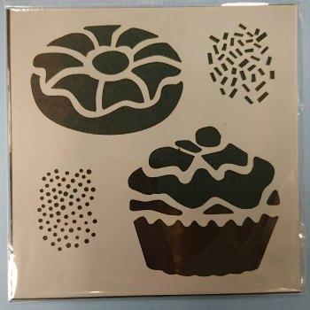 "Cupcakes & Doughnuts 6x6"" Stencil / Mask"