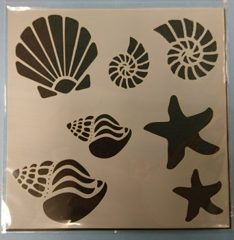"Shells & Starfish 6x6"" Stencil / Mask"
