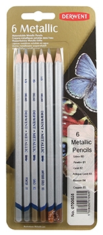Derwent Watersoluble Metallic Pencils - 6
