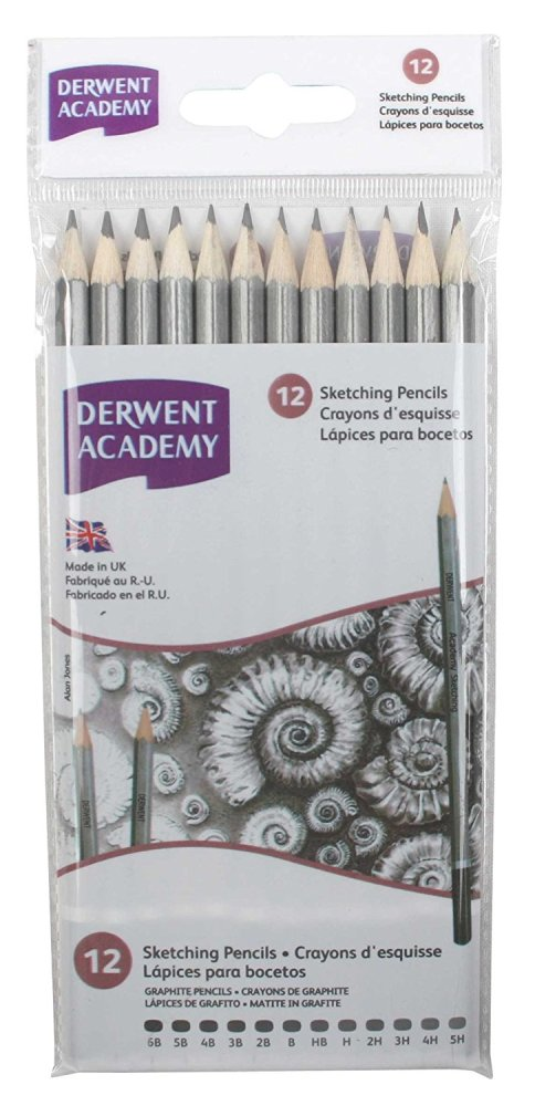 Derwent academy sketching pencil wallet set of 12 graphite drawing pencils