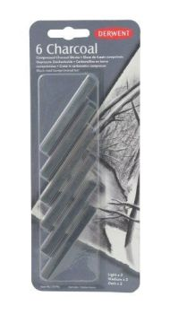 Derwent Compressed Charcoal Blister Solid Charcoal Blocks Set of 6