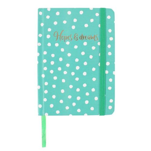A6 Notebook - Green with white spots
