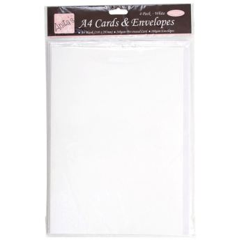 A4 Cards/Envelopes (4pk) - White