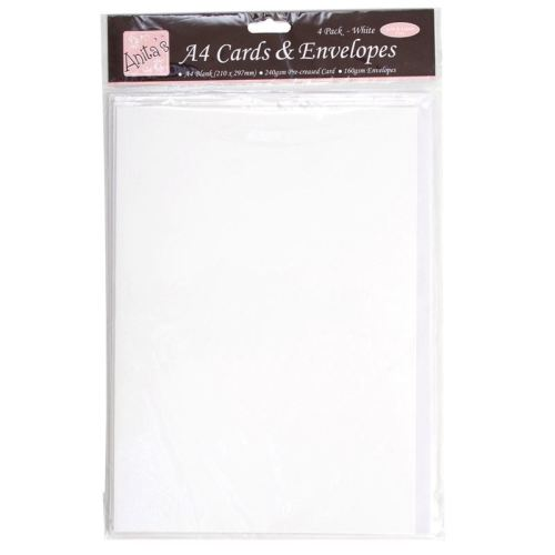 A4 Cards/Envelopes (4pk) - White