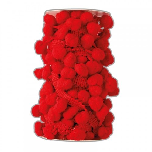 DoCrafts Pom Pom Trim - (93m) -Red