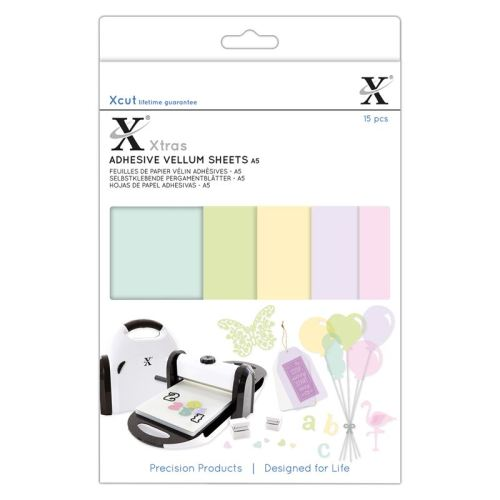 Xcut Xtras A5 Adhesive Vellum Sheets (15pcs) - Coloured