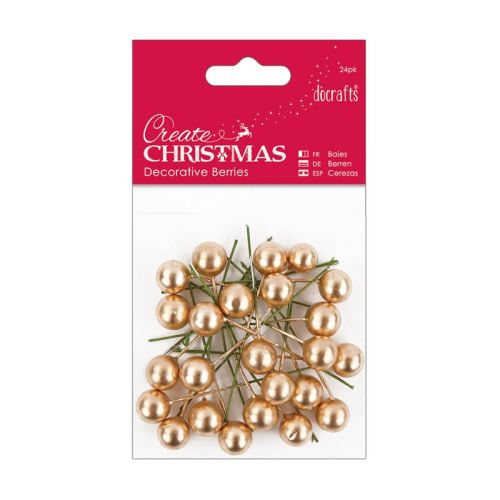 Docrafts Create Christmas Decorative Berries (24pk) - Gold