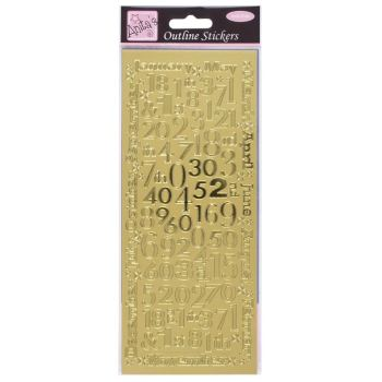 Outline Stickers - Months And Numbers - Gold