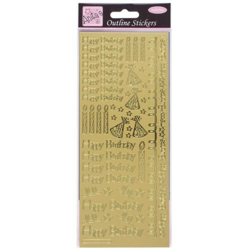 Outline Stickers - Happy Birthday - Gold