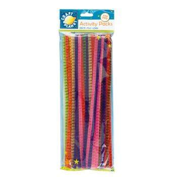 Chenille Striped Stems (50pk) - 10 Assorted Colours