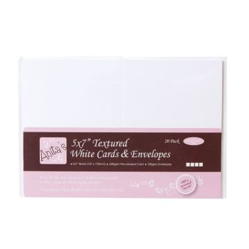 "5 x 7"" Cards/Envelopes Textured (20pk 240gsm) - White"