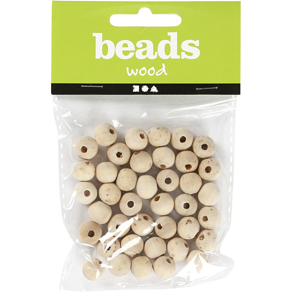 Wooden Bead, D: 10 mm, hole size 2,5 mm, china berry, 40pcs