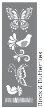 """Birds and Butterflies 6""""x18"""" Americana DECOR stencil"""