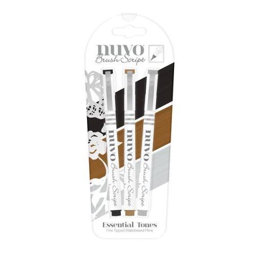 Nuvo Brush Script Pens - Essential Tones