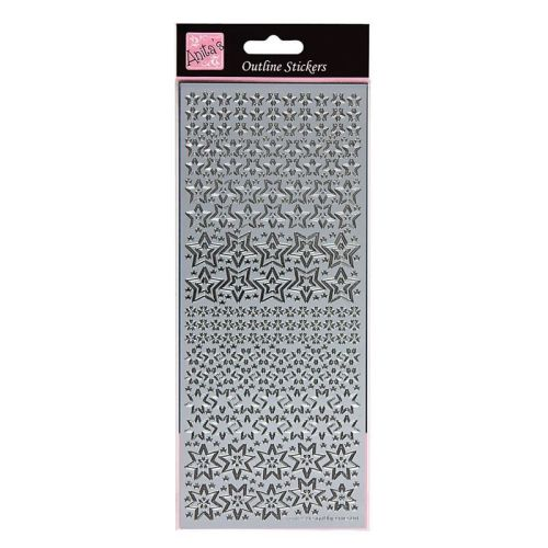 Outline Stickers - Sparkling Stars - Silver
