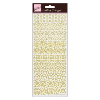 Outline Stickers - Sparkling Stars - Gold on White