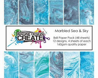 Marbled Sea & Sky 8x8 Paper Pack