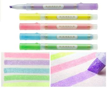 Zebra Glitter Chisel tip Highlighter pens by Kirarich - Pack of 5