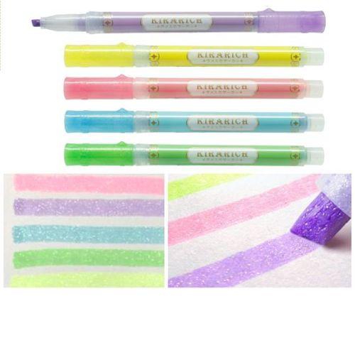 Zebra Glitter Chisel tip Highlighter pens by Kirarich - Pack of 5